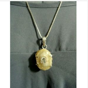 """New Champagne AGATE CRYSTAL Charm Necklace 22"""" 925"""